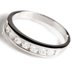 DiamondAura Sterling Silver Classic Channel Set Ring