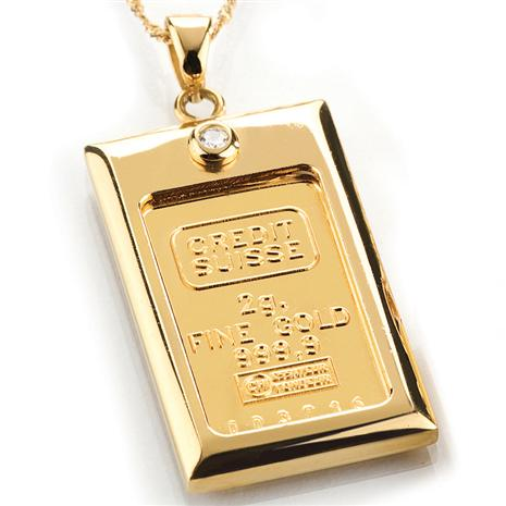 2 Gram Gold Ingot & Diamond Necklace