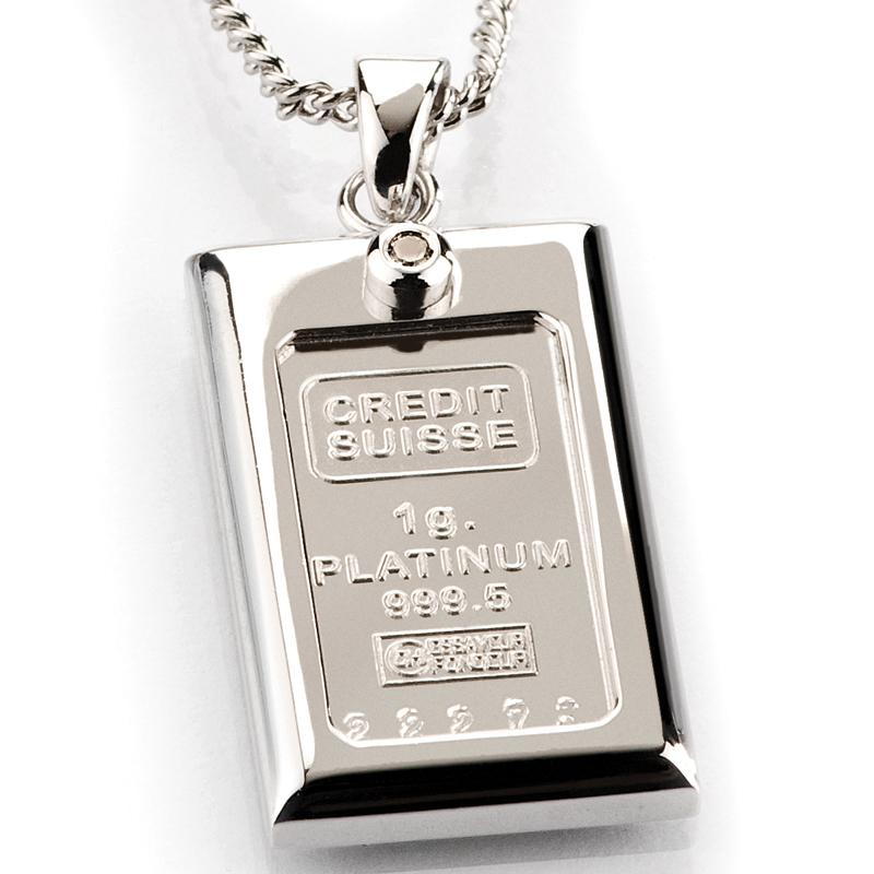 1 Gram Platinum & Diamond Ingot Necklace 15598 | Stauer.com