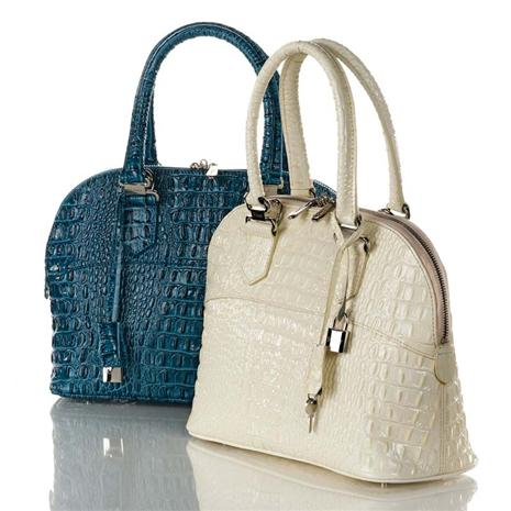 Croc-Embossed Ice-Blue Leather Handbag