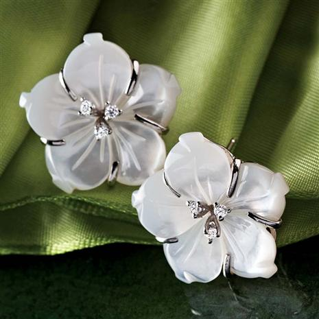 Mother of Pearl Hibiscus Earrings