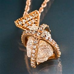 14K Gold Caged Raw Diamond Necklace