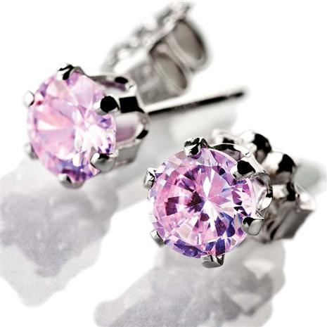 STERLING SILVER PINK DIAMONDAURA® STUD EARRINGS