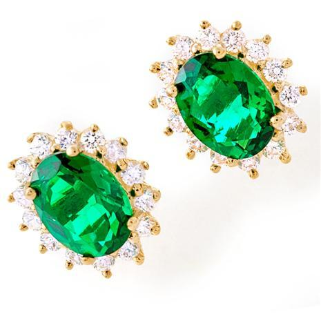 House of Windsor Scienza Lab-Created Emerald Earrings
