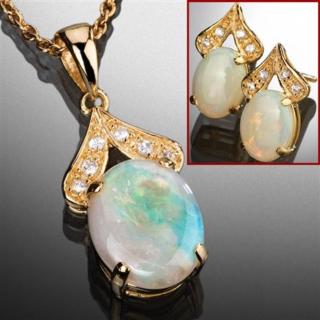 Opal Necklace & Earrings