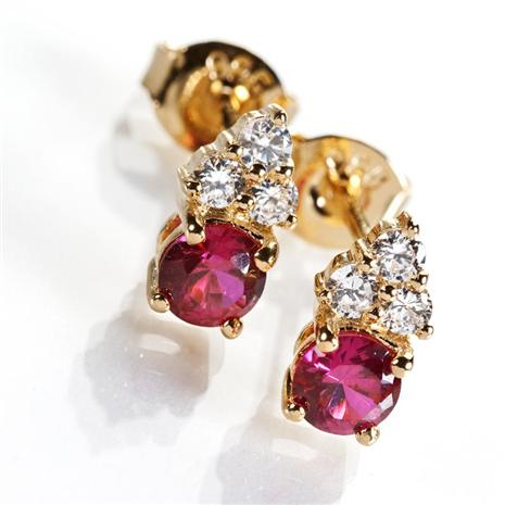 SCIENZA GOLD VERMEIL LAB CREATED RUBY EARRINGS