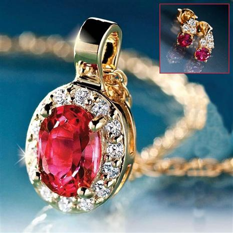 Scienza Ruby Pendant and Earrings Set