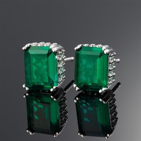 Scienza® Lab-created Emerald & DiamondAura® Platinum-finished Verde Earrings