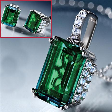 Scienza Lab-Created Emerald & Diamondaura Platinum-Finished Verde Earrings & Necklace Set