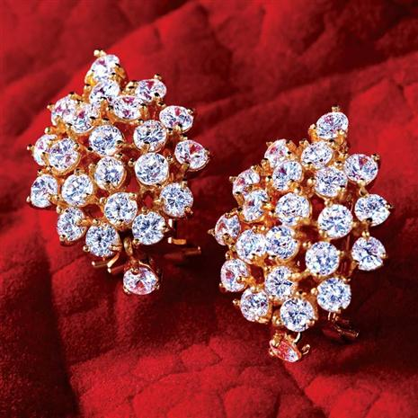 Gold Vermeil Diamondaura Cluster Earrings Stauer Online Discount