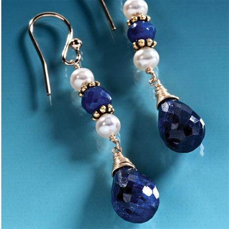 Midnight Sapphire Drop Earrings