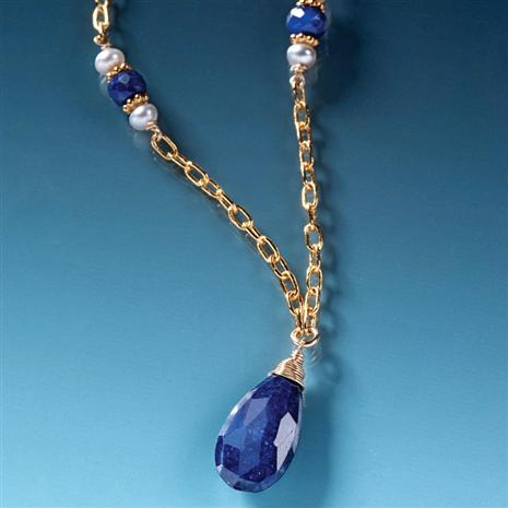 Midnight Sapphire Drop Necklace