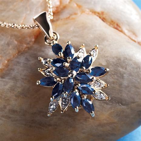 Midnight Sapphire & Diamond Starburst Necklace