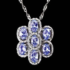 Tanzanite Cluster Necklace
