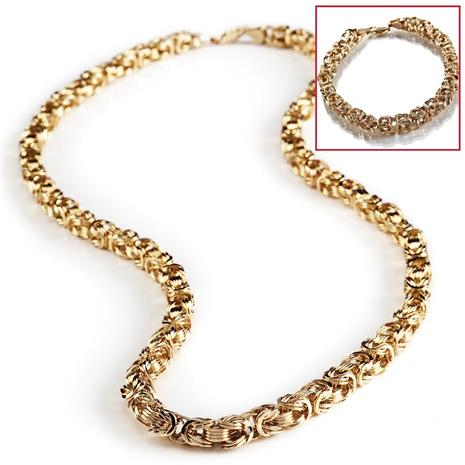 14K Gold Byzantine Braided Bracelet & Necklace Set