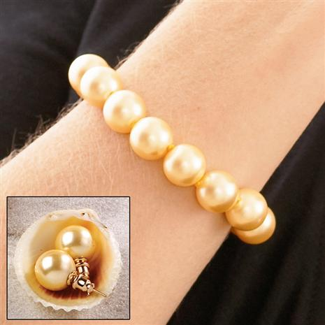 AUSTRALIAN PACIFIC GOLDEN 12MM EARRINGS & BRACELET