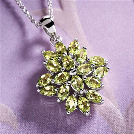Peridot Sunburst Necklace