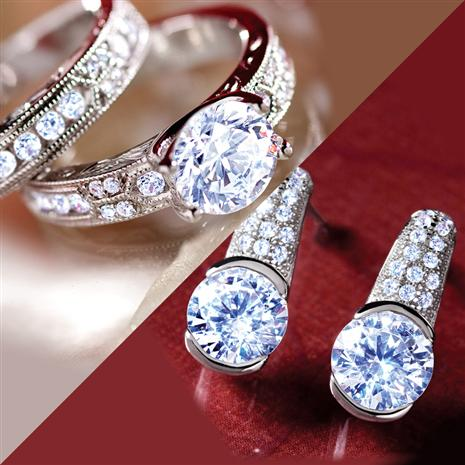 DiamondAura Dearly Beloved Rings and Earrings Set