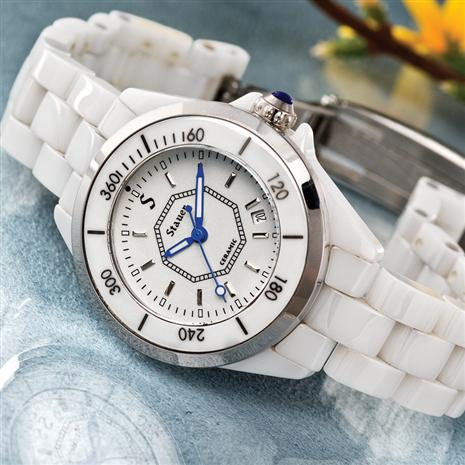 Ladies Swiss Movement White Ceramic Watch & $300 in Stauer Coupons