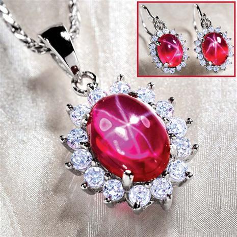 Aster Scienza Ruby Necklace & Earrings