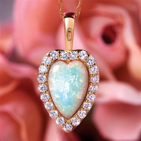 Opal & DiamondAura® Heart Reversible Necklace