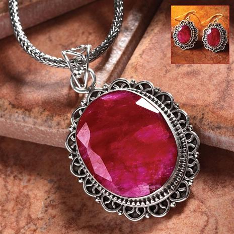 OVAL RUBY PENDANT & EARRINGS SET