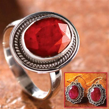 OVAL RUBY EARRINGS AND RING SET