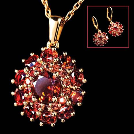 Europa Garnet Necklace & Earrings Set