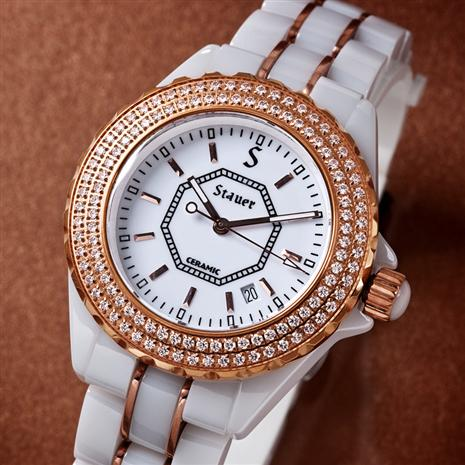 Ladies Rose Gold-finished & DiamondAura Ceramic Watch & $300 in Stauer Coupons
