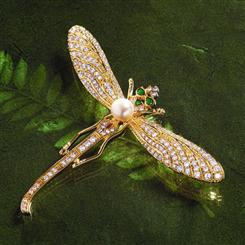 Gold-finished Nouveau Dragonfly Brooch