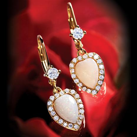 Opal & DiamondAura® Heart Earrings (2 1/2 CTW)