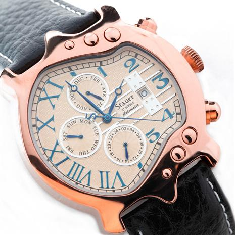 STAUER ROSE GOLD FUSED GUITAR WATCH