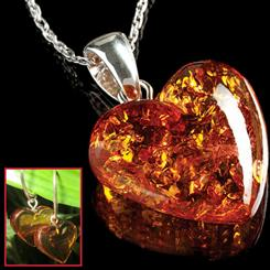 Baltic Amber Heart Necklace & Earrings Set