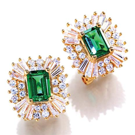 Scienza Ventura Lab-Created Emerald & Diamondaura Earrings