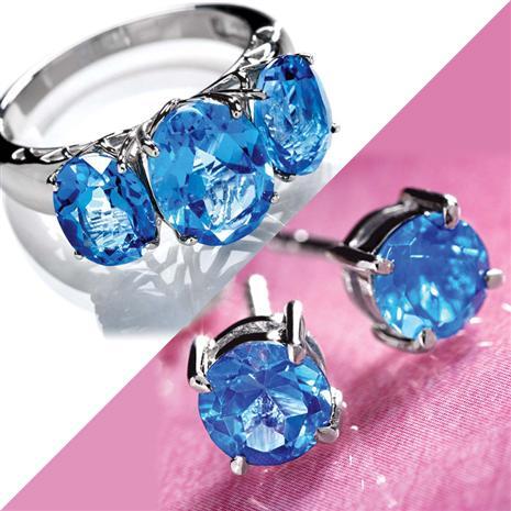 London Blue Topaz Earrings & Ring Set Stauer Online Discount