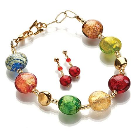 MURANO GLASS ARTISAN EARRINGS & BRACELET SET