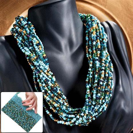 Bequia Glass Bead Necklace & Clutch Stauer Online Discount