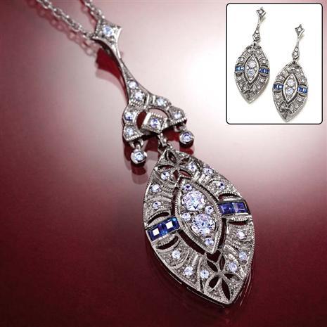 Spire Sapphire & Diamondaura Necklace & Earrings Stauer Online Discount