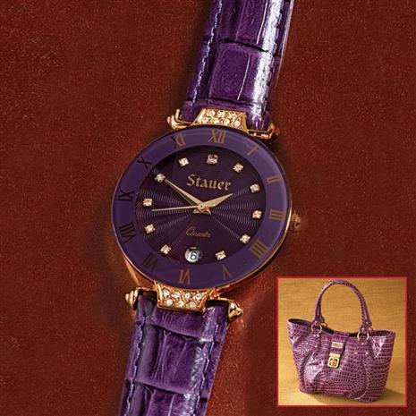 Stauer Amethyst Timepiece & Bonus Handbag Stauer Online Discount