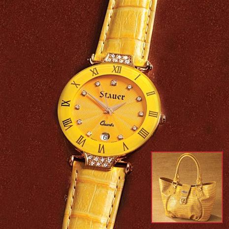 Stauer Citrine Timepiece & Bonus Handbag Stauer Online Discount