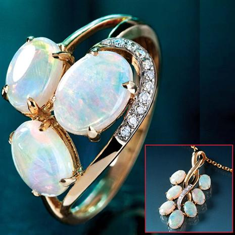 Isobel Australian Opal Ring & Necklace Set