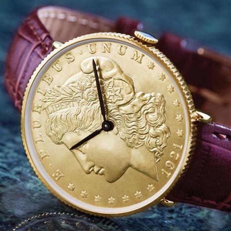 14K Gold Finished Morgan Silver Dollar Watch