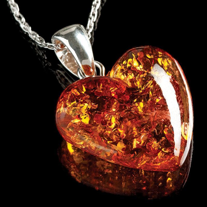 Amber Heart Necklace 22180 Stauer Com