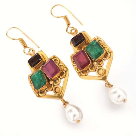 Tudor Emerald, Ruby & Garnet Earrings (15 Ctw) Stauer Online Discount