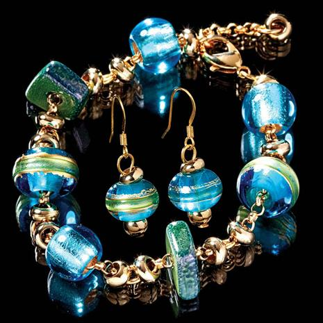 COSSIMO BLUE MURANO GLASS BRACELET & EARRINGS SET