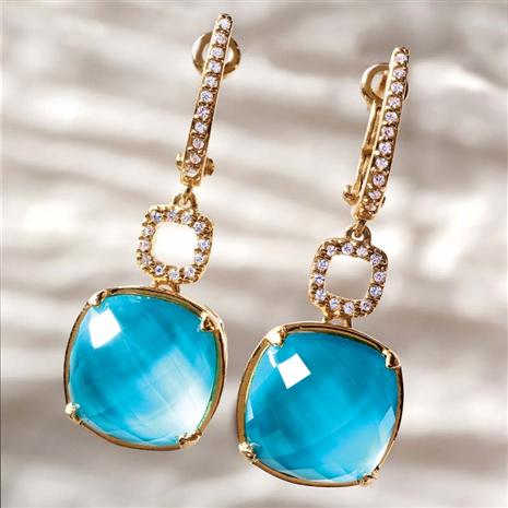 Gold Vermeil Alanza Turquoise & Quartz Earrings