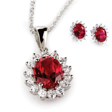 Crimson Passion Scienza Necklace and Earrings Set