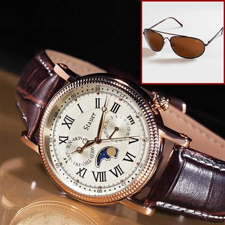 Stauer Rose Gold-Finished Moon Phase Watch & FREE Stauer Flyboy Optics Sunglasses