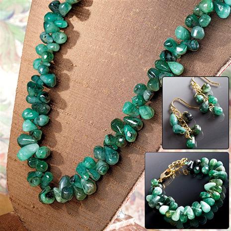 Cayman Emerald Necklace Bracelet & Earrings Set Stauer Online Discount