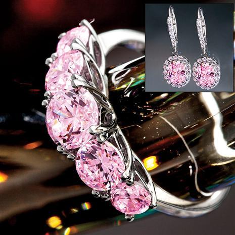 Palos Pink Diamondaura Ring & Earrings Set Stauer Online Discount
